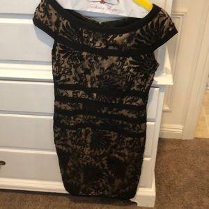 Tadashi Shoji cap sleeve black lace dress